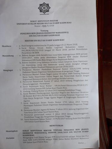 Rektor Sahkan Ketua dan Wakil Ketua BLM dan BEM UIN Periode 2018/2019