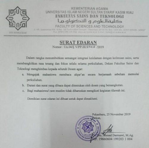 Dekan FST Himbau Mengaji Bersama Sebelum KBM