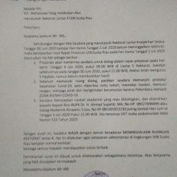 Keluarkan Surat Undangan Dialog Kepada Massa Aksi, Rektor Berikan Syarat