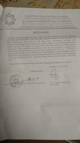 Dianggap Langgar Kode Etik, Rektor Berhentikan Ketua Sema UIN Suska