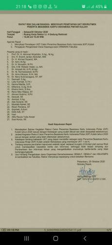 Rapat RDK Pimpinan Putuskan Beasiswa KIP Hanya Untuk Mahasiswa UKT I-IV