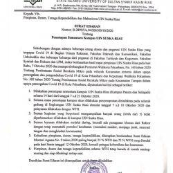 Staf Terpapar Covid-19, Kampus UIN Suska Ditutup Sementara