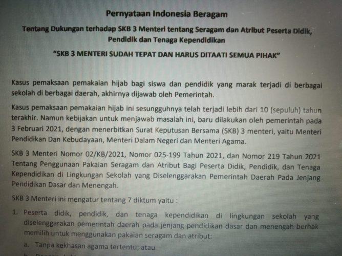Jaringan Indonesia Beragam Dukung SKB 3 Menteri