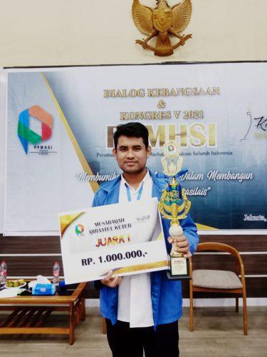 Raih Juara Pertama MQK Tingkat Nasional, Hardiansyah Banggakan UIN Suska